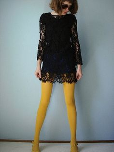 Black lace + mustard tights. But would I ever actually WEAR mustard tights outside the house where I might meet actual real people?