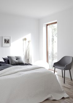 bedroom white and grey by BLOOC