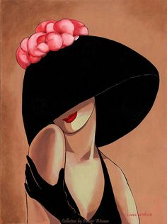 """""""Flirty Black Hat with Pink Lotus"""" by Lorraine Dell Wood Painting People, Art Et Illustration, Female Art, Painting & Drawing, Pop Art, Modern Art, Art Projects, Art Drawings, Art Photography"""
