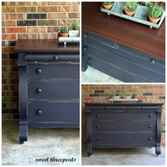 """""""Refurbished by Sweet Threepeats just finished this rich navy buffet - we custom mixed a new color using General Finishes Lamp Black and Coastal Blue. We call this one Sophisticated Navy. Looks perfect on this farmhouse empire!!!"""""""