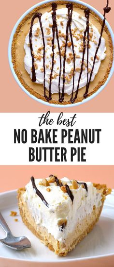 ***The BEST Peanut Butter Pie (No Bake) ~ ever! Super easy to make, completely no bake and such a crowd pleaser. Topped with whipped cream, peanuts and a drizzle of chocolate. Best Peanut Butter, Peanut Butter Cheesecake, Peanut Butter Recipes, Creamy Peanut Butter, Cake Ingredients, Homemade Tacos, Homemade Taco Seasoning, No Bake Desserts, Peanut Butter