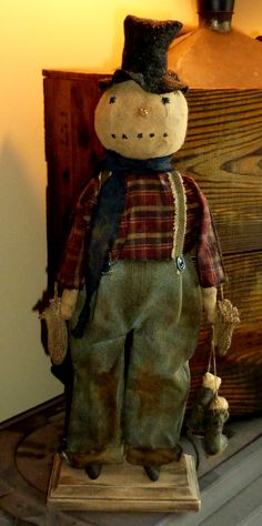 Primitive Standing Snowman Doll - up for sale in a few hours on the Primitive Handmades Mercantile website. Christmas Sewing, Primitive Christmas, Christmas Snowman, Rustic Christmas, Christmas Crafts, Christmas Ideas, Xmas, Christmas Patterns, Christmas Porch
