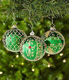 Christopher Radko 3 Green Glass Ball Ornament Set of 3 #Dillards