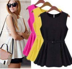 101abfb6a Free shipping Women s Chiffon Vest Top Tank Sleeveless Slim Vogue Trend  Blouse Shirt Belt Black Rose