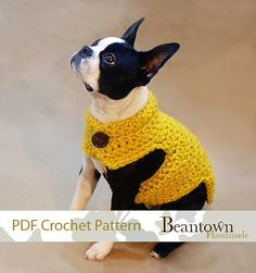 CROCHET PATTERN Dog Sweater with Button Neck