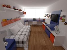 Quarto de Menino. Projeto: Escritório de Arquitetura Servino e Assed Renderização: Estúdioi - Desenhos em 3D e Renderização de Imagens para Arquitetura