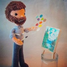 A crocheted BOB ROSS! SHUT THE FRONT DOOR. I want to paint happy little trees.