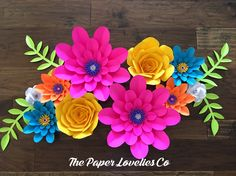 Vivid bright Paper flower set