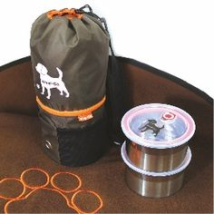 The perfect travel set, the WagNGo case holds two watertight dishes for kibble, a double fleece blanket, and a collapsible water bowl.