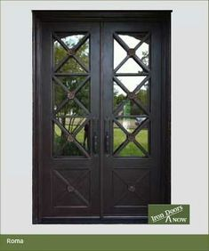 62 x 96 Roma Wrought Iron Double Door W/ Aquatex dual pane glass***FREE SHIPPING*** Iron Doors Now