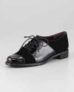 X1QDW Stuart Weitzman Oh Brother Mixed-Leather Oxford