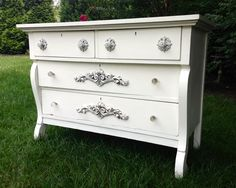 Powder White Chest with charcoal glazing by Bellablakely Uptown Vintage Furniture