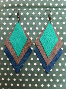 Layered leather earrings.Could also make as pendant.