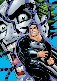 In this topsy-turvy tale of a world gone wrong, the Man of Steel is a hunted villain, while his imperfect duplicate, Bizarro, is hailed as a champion. Black Superman, Superman Art, Batman, Joker Comic, Joker Art, The Man Who Laughs, Wonder Woman Comic, Clark Kent, Man Of Steel