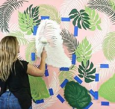 Trendy Tropical Palm Leaves wall mural stencil patterns on a budget using Cutting Edge Stencils DIY palm leaf stencil patterns for an accent wall Wall Stencil Patterns, Stencil Designs, Paint Designs, Cutting Edge Stencils, Leaf Stencil, Stencil Diy, Wall Painting Stencils, Stenciling, Wallpaper Stencil