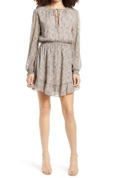 x BFF Laura Smocked Waist Long Sleeve Minidress