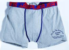 [img-9929-left-thickbox_default] Sous vêtement Allsize boxer  95 % coton 5 % Spandex Coloris Gris et couture Bleu avec un logo Réplika Bande élastique assez large pour éviter les marques sur la peau