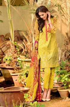 Shirt:  Fabric: Embroidered Lawn Front, Printed Lawn Back with  Sleeves  Shalwar/Trouser:  Fabric: Dyed Salwar  Dupatta:  Fabric: Printed Silk Dupatta.
