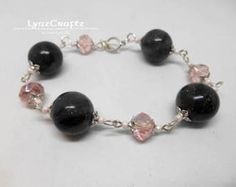 Lovely Faux Onyx polymer clay  bracelet jewelry cabochon charm handmade One of a Kind