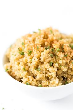 This delicious garlic butter quinoa recipe is one of the easiest recipes you'll ever make! It uses just 5 ingredients, one pan and goes with everything!