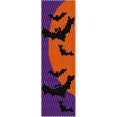 Bats Halloween, Peyote Bead Pattern, Bracelet Cuff, Bookmark, Seed Beading Pattern Miyuki Delica Size 11 Beads - PDF Instant Download by SmartArtsSupply on Etsy
