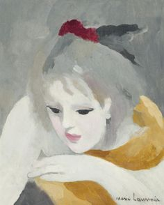 lawrenceleemagnuson:  Marie Laurencin (France 1883-1956) Tête pensive oil on canvas 40.7 x 32.8 cm.
