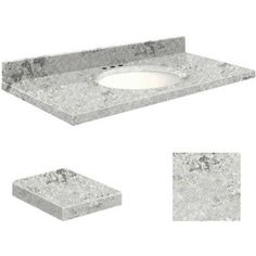 Transolid Quartz 25 inch x 22 inch Bathroom Vanity Top with Eased Edge, 8 inch Centerset and White Bowl, Available in Various Colors