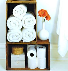 To keep small washcloths from getting lost in the linen closet, roll them up and tuck them in small bins or baskets. Before guests arrive, simply set them out.