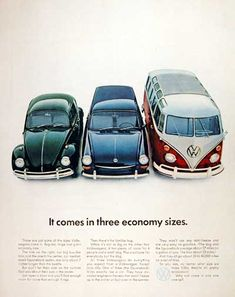 1967 Volkswagen original vintage ad. Pictured are the VW Beetle, VW Squareback and the 21-window Bus. It comes in three economy sizes.