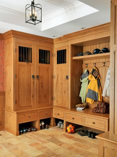 Mud Room Entry Design Ideas, Pictures, Remodel and Decor . Mission Furniture, Furniture Plans, Organizing Walk In Closet, Closet Organization, Organization Ideas, Locker Designs, Entry Closet, Front Closet, Mudroom Laundry Room