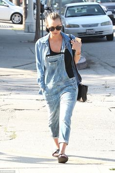 """Kaley Cuoco wearing the Citizens of Humanity Audrey Overall in """"Sun Bleach"""" on February 16th in Studio City."""