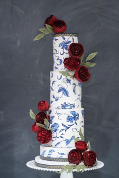 """Hand-painted """"Blue and White Porcelain"""" with Deep Red David Austins in Gumpaste - Cake by Jackie Florendo"""