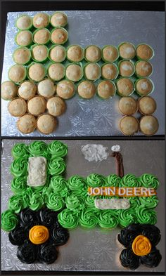 John Deere Tractor Cupcake Cake for my son's 7th birthday. Buttercream icing and full size cupcakes. *unsure of cake board size*