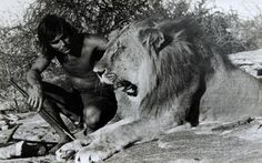 Tony Fitzjohn with Christian, the captive-bred lion who was bought at  Harrods and reintroduced to the wild