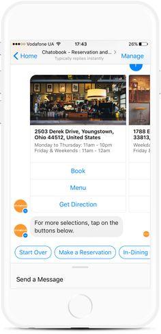 Food Ordering Bot for Restaurants, Bars and Grocery Stores Facebook Messenger, Order Food, Get Directions, Delivery, Restaurant, Templates, Stencils, Diner Restaurant, Vorlage