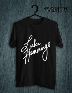 0d69208f9389 Luke Hemmings Sign 5SOS SOS Five Seconds Band Premium Tee T Shirt Black and  White Unisex