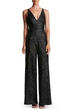 Dress the Population 'Charlie' Sequin Jumpsuit available at Nordstrom. 70s Outfits, Xmas Party Outfits, New Years Eve Outfits, Basic Outfits, Everyday Outfits, Black Sequin Jumpsuit, Prom Jumpsuit, Wedding Jumpsuit, Jumpsuit Outfit