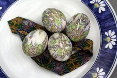 Easter eggs dyed with the pattern from a silk tie! Too cool!