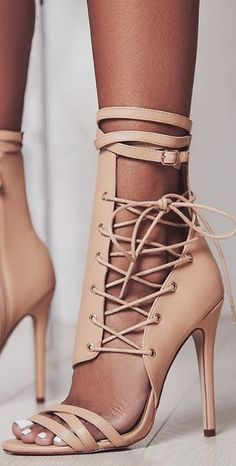 Lace Heels, Strappy Sandals Heels, High Heels Stilettos, Shoes Heels, Stiletto Heels, Prom Heels, Cool Boots, Crazy Shoes, Fashion Shoes