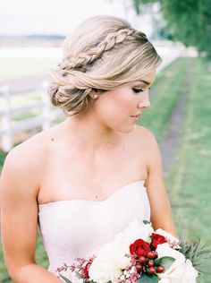Crown braid wedding updo hairstyles