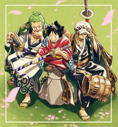 Luffy, Zoro and Law Wano island – 海賊王 – elaw Zoro One Piece, One Piece Ace, One Piece Comic, One Piece Fanart, Dark Fantasy, Zoro Roronoa, Trafalgar D Water Law, Manga Anime One Piece, One Piece Pictures