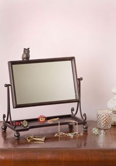 All Wise on Me Mirror - Black, Owls, Vintage Inspired, Dorm Decor
