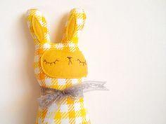 sleepyking on etsy.com  handmade, plush, softie, rabbit, bunny, yellow, gingham, toy, cute, doll