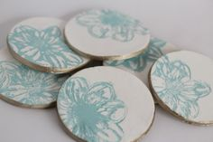 Imprinted Clay Coasters  (stamps, air dry clay rolled out, paint, etc., easy and fun)