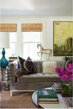 Brownish-gray velvet sofa from the home of GMA's Lara Spencer
