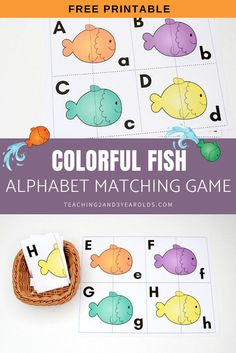 Looking for a fun way to work on alphabet skills with a fish theme? This fish alphabet printable activity includes free cards that challenge preschoolers to match the uppercase letter to the lowercase letter.#free #printable #activity #fish #ocean #alphabet #literacy #abc #matching #game #pets #3yearolds #4yearolds #teaching2and3yearolds Rainbow Fish Activities, Preschool Learning Activities, Alphabet Activities, Alphabet Games For Preschoolers, Literacy Games, Learning Games, Early Learning, Preschool Rules, Free Preschool