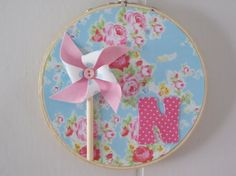 Shabby Chic Embroidery Hoop Art Pink Floral Roses by LaurasCraft, $12.99