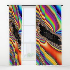 Black Hole Rainbow Curtains  by Terrella.  A fractal that looks like a rainbow orbiting and being sucked in to a black hole.  You may see something else.