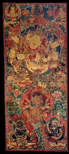 Parnashavari the Forest Goddess: Healer of Contagious Diseases invoked at Tibetan Tantric religious gatherings. Associated with the Shavari tribe of ancient India, she wears a garland and skirt of thatched leaves. Central Tibet; 19th C. Pigments on cloth.
