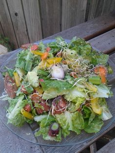 http://ReverseDiabetesHolistically.com Holy, holy salad! Let me lay this down. All organic. Romaine, carrot, spring onion, heirloom tomato, avocado, yellow bell pepper, hemp seeds, fenugreek spouts, broccoli sprouts, onion sprouts, lemon, olive oil, sea salt. Did I miss anything? Oh yes - Love, creativity, and passion :)